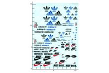 Décalcomanie Adidas nike 1/43 - 1/32 - 1/24 - 1/18 (REF : 309)