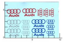 Décalcomanie Audi argent rouge bleu 1/43 (REF : 404)