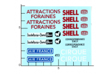 Décalcomanie Divers pub dinky Air France Shell Cirque PTT (REF : 413)