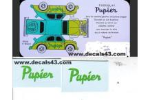 decalcomanie chocolat pupier pour renault 4cv 1/18